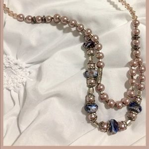 Double strand necklace.  Faux pearls, beads